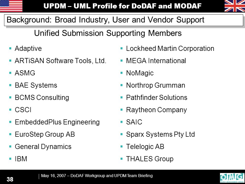 UPDM – UML Profile for DoDAF and MODAF May 16, 2007 – DoDAF Workgroup and UPDM Team Briefing 38 Background: Broad Industry, User and Vendor Support 