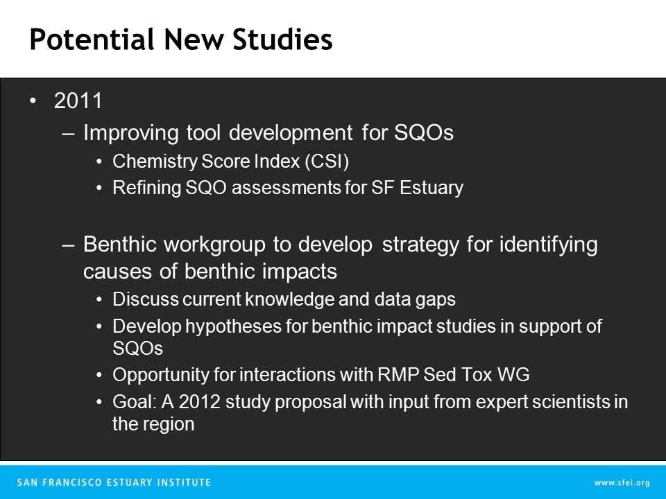 Potential New Studies 2011 –Improving tool development for SQOs Chemistry Score Index (CSI) Refining SQO assessments for SF Estuary –Benthic workgroup to develop strategy for identifying causes of benthic impacts Discuss current knowledge and data gaps Develop hypotheses for benthic impact studies in support of SQOs Opportunity for interactions with RMP Sed Tox WG Goal: A 2012 study proposal with input from expert scientists in the region