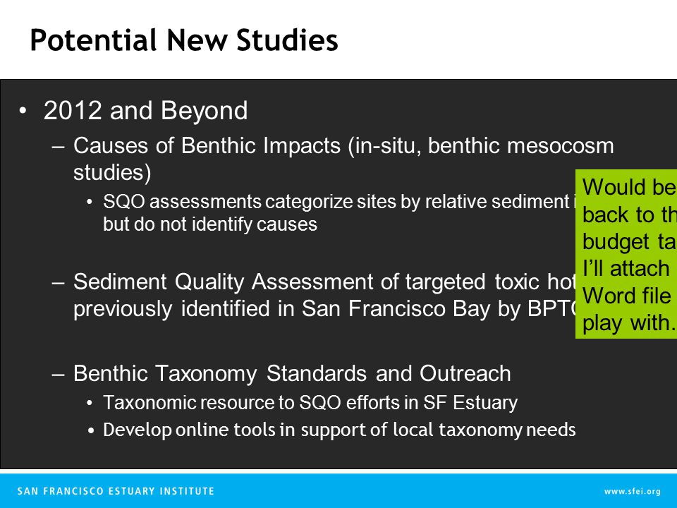 Potential New Studies 2012 and Beyond –Causes of Benthic Impacts (in-situ, benthic mesocosm studies) SQO assessments categorize sites by relative sediment impact but do not identify causes –Sediment Quality Assessment of targeted toxic hot spots previously identified in San Francisco Bay by BPTCP –Benthic Taxonomy Standards and Outreach Taxonomic resource to SQO efforts in SF Estuary Develop online tools in support of local taxonomy needs Would be good to bring it back to the multi-year budget table at the end.