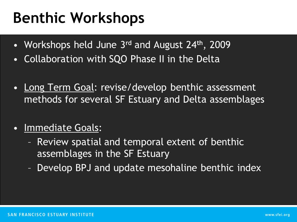 Benthic Workshops Workshops held June 3 rd and August 24 th, 2009 Collaboration with SQO Phase II in the Delta Long Term Goal: revise/develop benthic assessment methods for several SF Estuary and Delta assemblages Immediate Goals: –Review spatial and temporal extent of benthic assemblages in the SF Estuary –Develop BPJ and update mesohaline benthic index