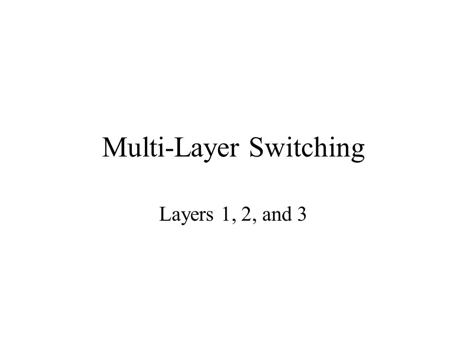 Multi-Layer Switching Layers 1, 2, and 3