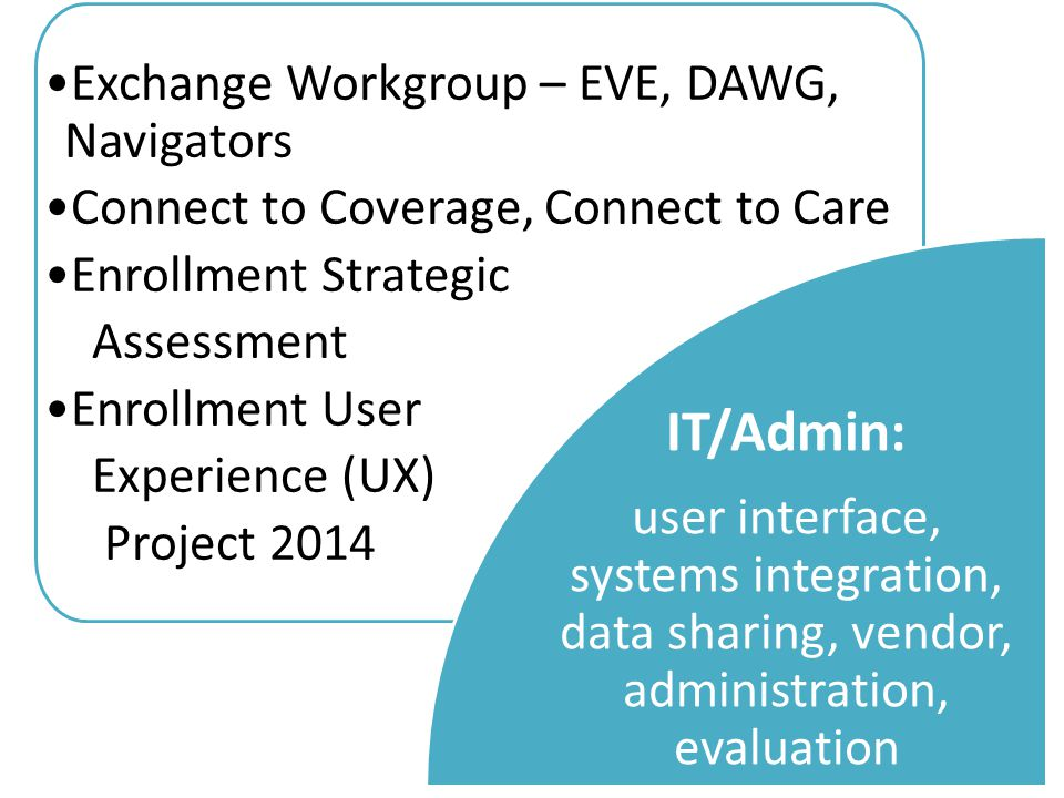 Exchange Workgroup – EVE, DAWG, Navigators Connect to Coverage, Connect to Care Enrollment Strategic Assessment Enrollment User Experience (UX) Project 2014 IT/Admin: user interface, systems integration, data sharing, vendor, administration, evaluation