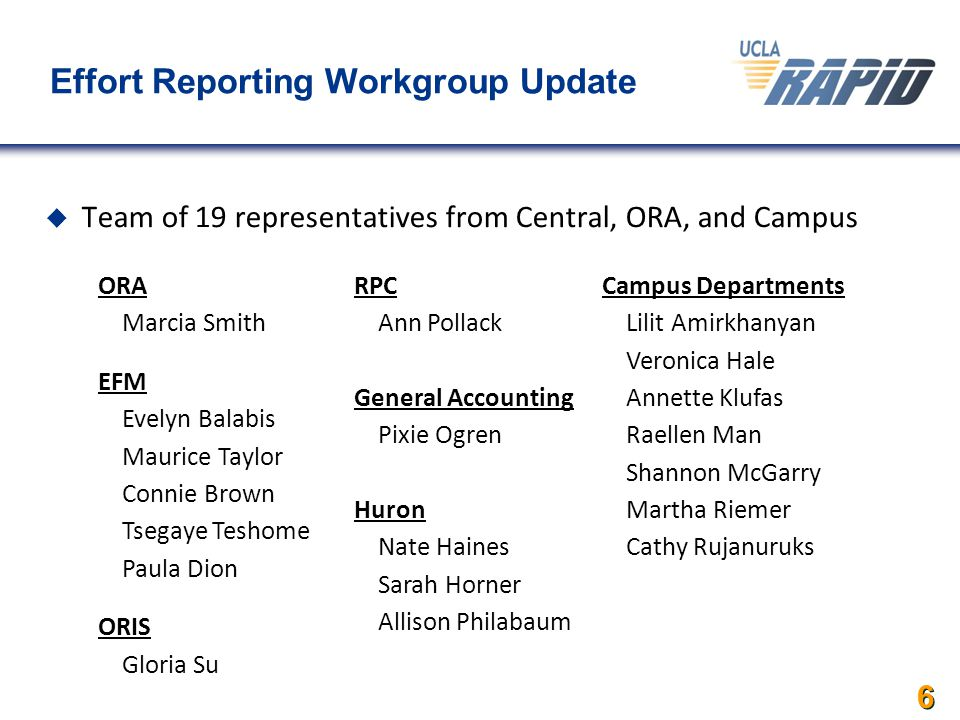 6 Effort Reporting Workgroup Update  Team of 19 representatives from Central, ORA, and Campus ORA  Marcia Smith EFM  Evelyn Balabis  Maurice Taylor  Connie Brown  Tsegaye Teshome  Paula Dion ORIS  Gloria Su RPC  Ann Pollack General Accounting  Pixie Ogren Huron  Nate Haines  Sarah Horner  Allison Philabaum Campus Departments  Lilit Amirkhanyan  Veronica Hale  Annette Klufas  Raellen Man  Shannon McGarry  Martha Riemer  Cathy Rujanuruks