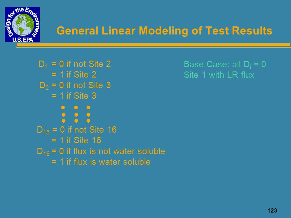 123 General Linear Modeling of Test Results D 1 = 0 if not Site 2 = 1 if Site 2 D 2 = 0 if not Site 3 = 1 if Site 3 D 15 = 0 if not Site 16 = 1 if Sit