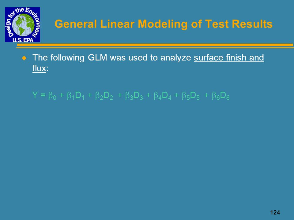124 General Linear Modeling of Test Results u The following GLM was used to analyze surface finish and flux: Y =  0 +  1 D 1 +  2 D 2 +  3 D 3 + 