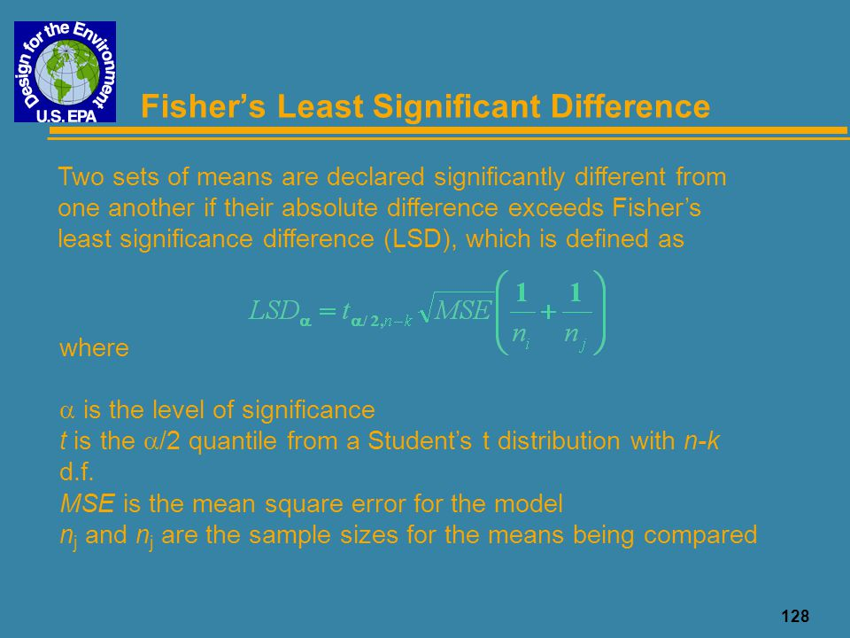 128 Fisher's Least Significant Difference Two sets of means are declared significantly different from one another if their absolute difference exceeds