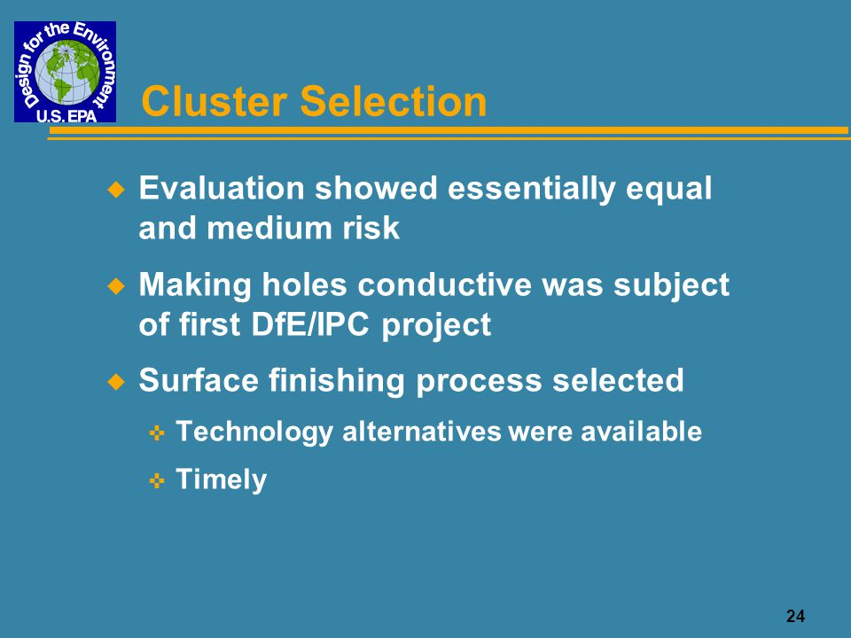 25 Use Cluster Selected Surface Finishing Use Cluster Circuit Design/ Data Acquisition Inner Layer Image Transfer Laminate Inner Layers Drill Holes Clean Holes Make Holes Conductive Outer Layer Image Transfer Surface Finish Final Fabrication OSPHot Air Solder Leveling Immersion Silver Immersion Tin Electroless Nickel/Palladium/ Immersion Gold Electroless Nickel/ Immersion Gold