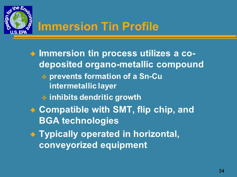 34 Immersion Tin Profile u Immersion tin process utilizes a co- deposited organo-metallic compound < prevents formation of a Sn-Cu intermetallic layer