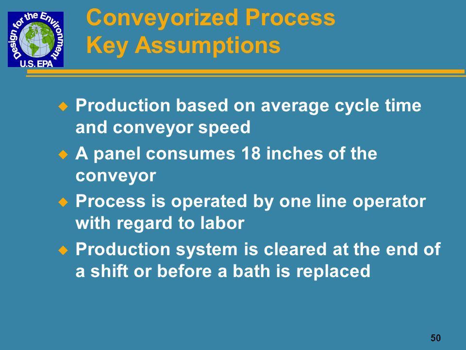 50 Conveyorized Process Key Assumptions u Production based on average cycle time and conveyor speed u A panel consumes 18 inches of the conveyor u Pro
