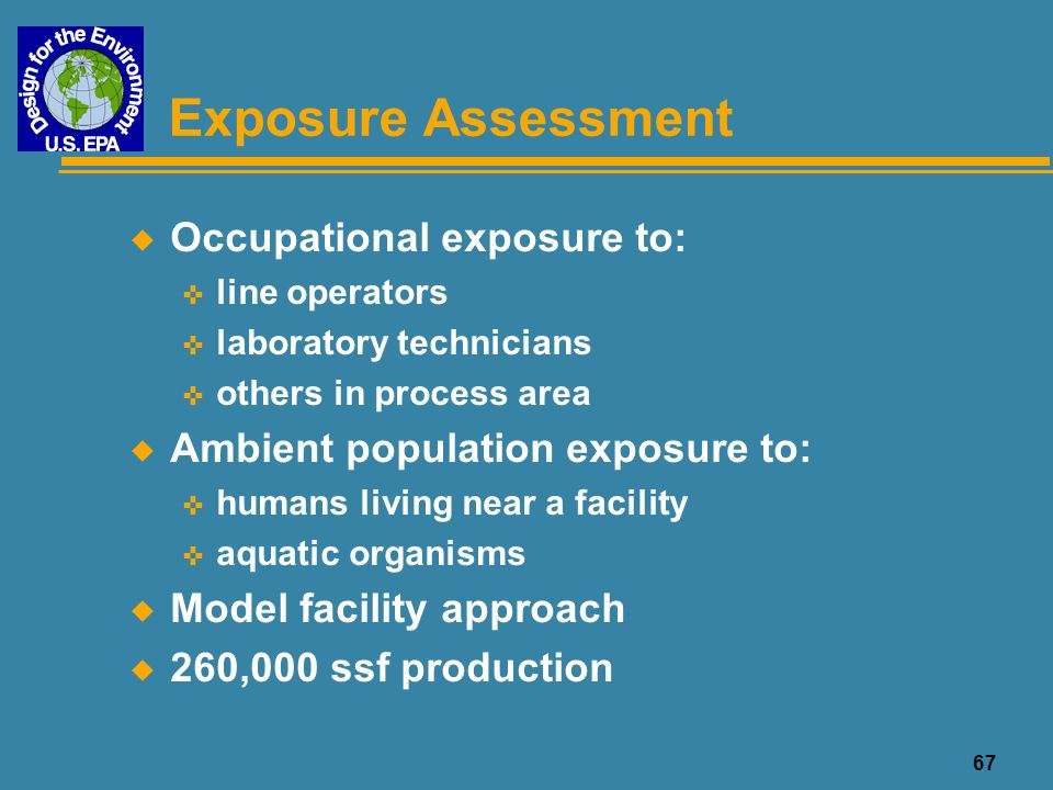 68 Pathways for Worker Exposure Chemical Source Exposure Medium Exposure Route Release Medium Inhalation Dermal Contact Chemical Bath Chemical Bath Evaporation Aerosol generation Direct Contact Air Equipment Cleaning