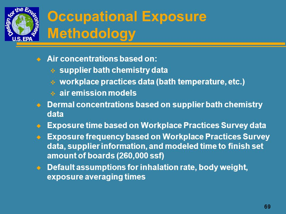70 Occupational Exposure: Non-Conveyorized Processes u Baths are not enclosed u Inhalation exposure to vapors from all baths and to aerosols from air-sparged baths < line operator is exposed 8 hours/day < exposure to others is proportional to time spent in process area < no vapor controls on baths u Dermal exposure through line operation and bath maintenance, 8 hours/day