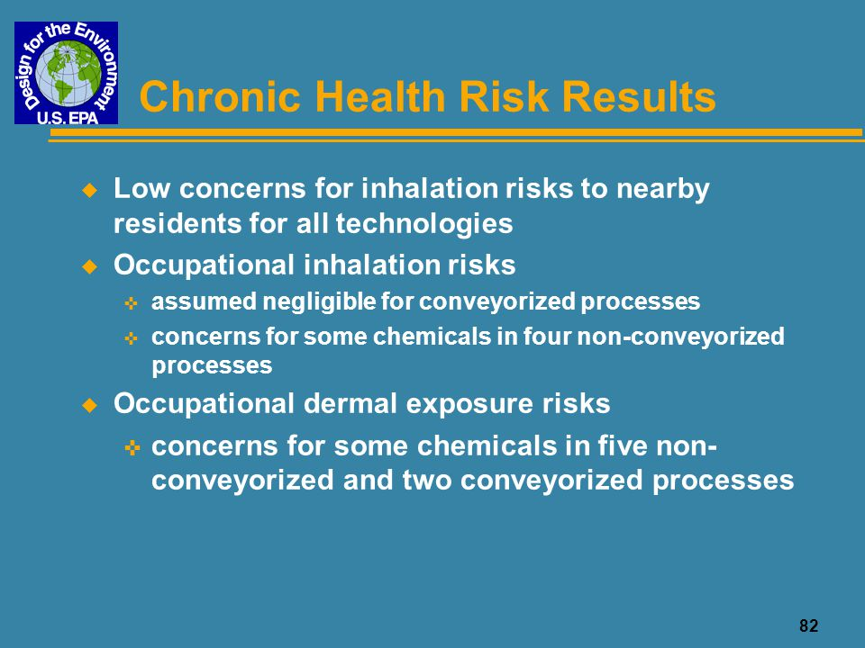 83 SF Chemicals of Concern for Potential Inhalation Risks ChemicalHASLNickel/GoldNickel/Palladium /Gold OSP Immersion Tin Alkyldiol  Ethylene Glycol  Hydrochloric Acid  Hydrogen Peroxide  Nickel Sulfate  Phosphoric Acid  Propionic Acid  Process (NC, 260,000 ssf) a a: Non-conveyorized Immersion Silver process not evaluated  Line operator risk results above concern levels (noncancer health effects)