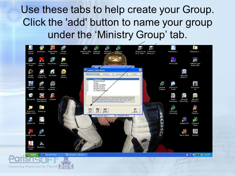 Use these tabs to help create your Group.