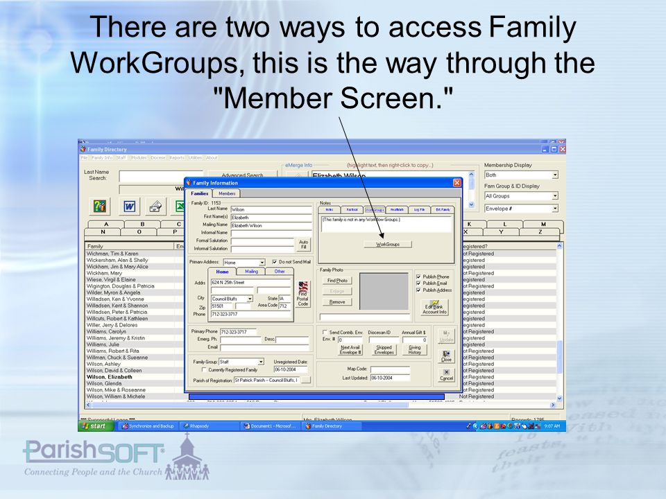 The other way to access Family Workgroups is through Family Directory.