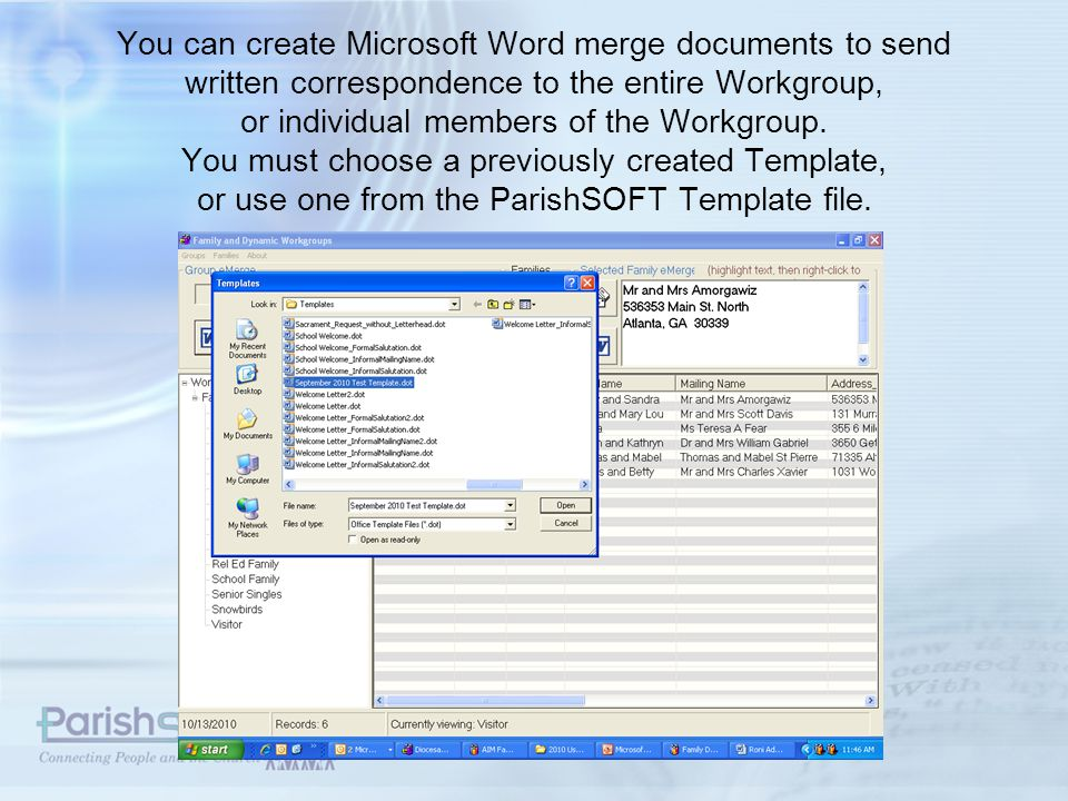 Merge data from your ParishSOFT database into the Word Document.