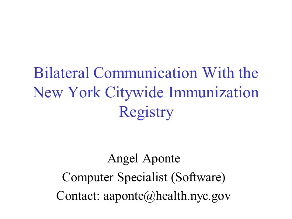 Outline New York Citywide Immunization Registry (CIR) introduction Open Source technologies used at CIR CIR electronic data exchange –Immunization reporting –Immunization information sharing –Decision support for immunization schedule Current methods Emerging solutions