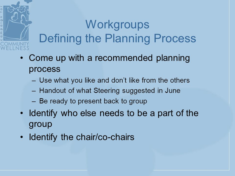 Workgroups Defining the Planning Process Come up with a recommended planning process –Use what you like and don't like from the others –Handout of what Steering suggested in June –Be ready to present back to group Identify who else needs to be a part of the group Identify the chair/co-chairs