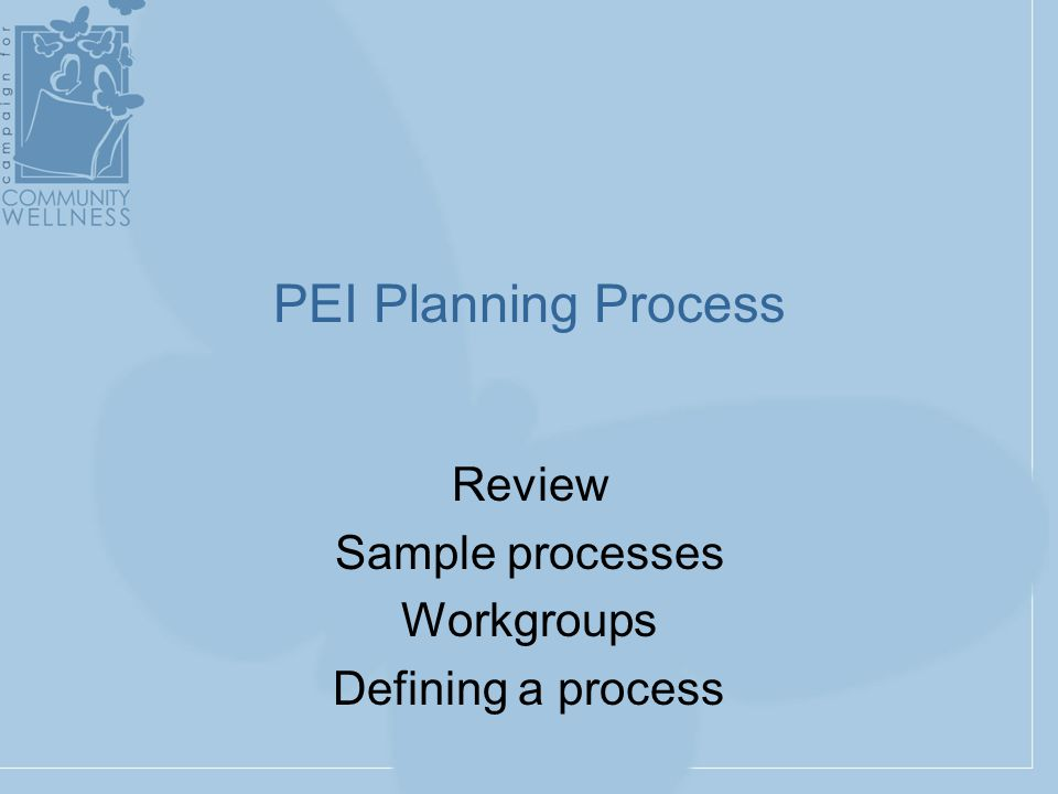 PEI Planning Process Review Sample processes Workgroups Defining a process