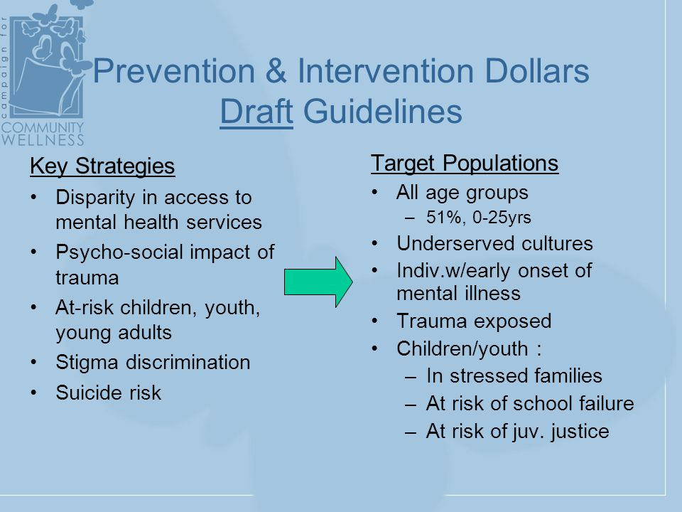 Prevention & Intervention Dollars Draft Guidelines Target Populations All age groups –51%, 0-25yrs Underserved cultures Indiv.w/early onset of mental illness Trauma exposed Children/youth : –In stressed families –At risk of school failure –At risk of juv.