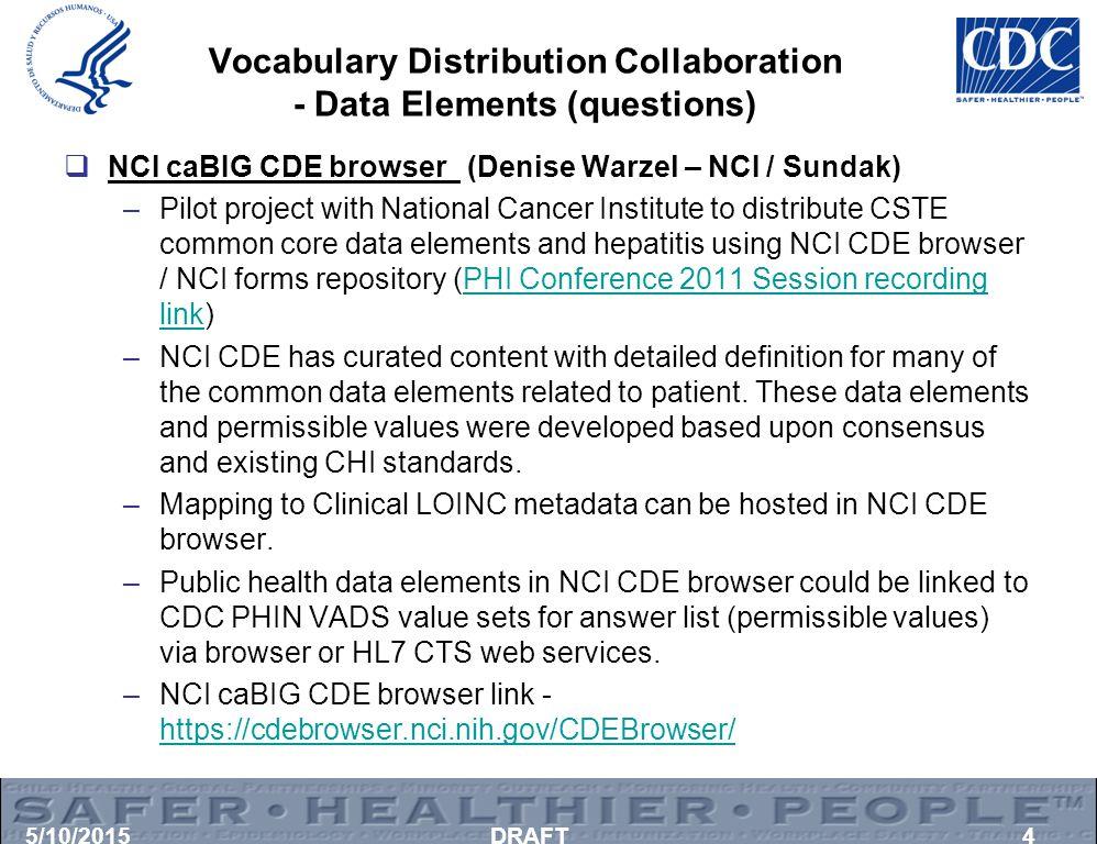 Vocabulary Distribution Collaboration - Data Elements (questions)  NCI caBIG CDE browser (Denise Warzel – NCI / Sundak) –Pilot project with National