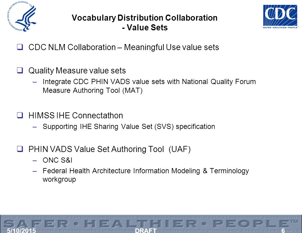 Vocabulary Distribution Collaboration - Value Sets  CDC NLM Collaboration – Meaningful Use value sets  Quality Measure value sets –Integrate CDC PHI