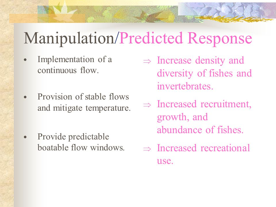 Manipulation/Predicted Response  Implementation of a continuous flow.