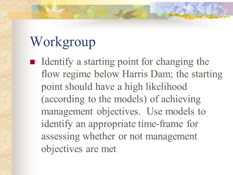 Workgroup Identify a starting point for changing the flow regime below Harris Dam; the starting point should have a high likelihood (according to the models) of achieving management objectives.