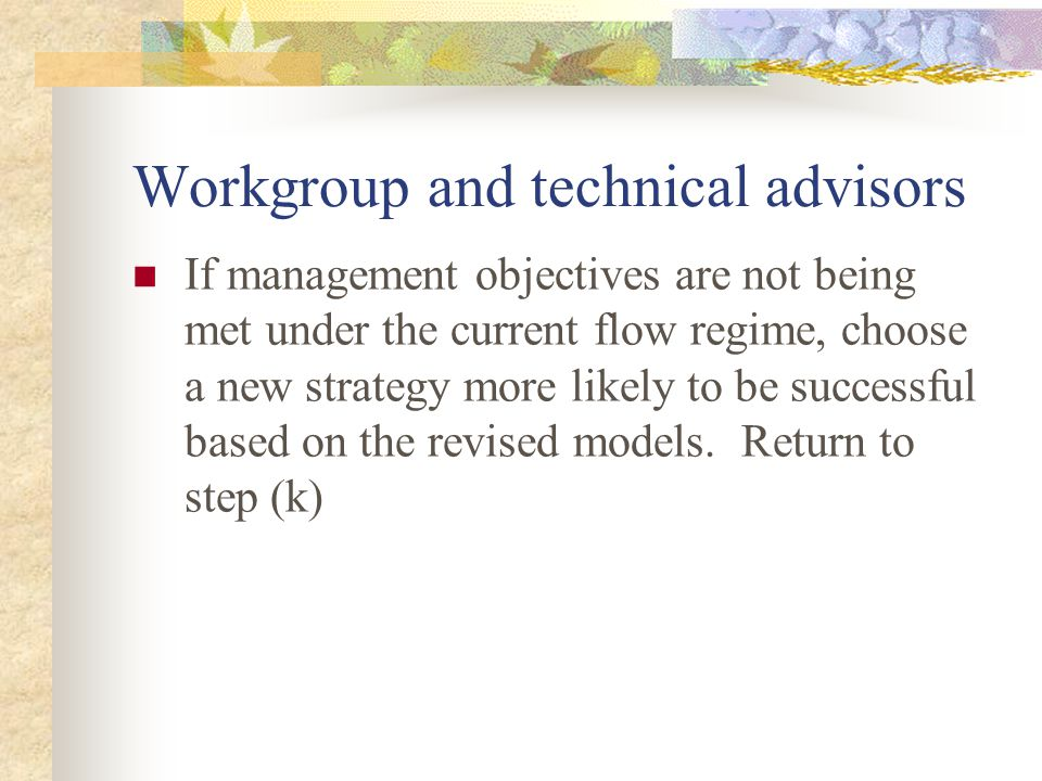 Workgroup and technical advisors If management objectives are not being met under the current flow regime, choose a new strategy more likely to be successful based on the revised models.