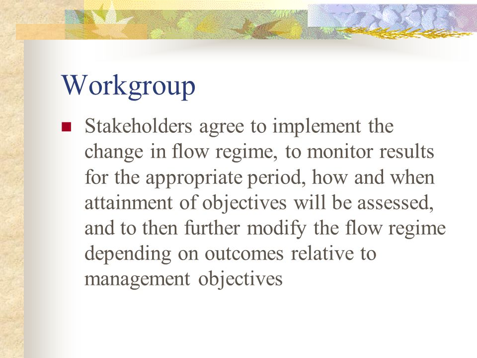 Workgroup Stakeholders agree to implement the change in flow regime, to monitor results for the appropriate period, how and when attainment of objectives will be assessed, and to then further modify the flow regime depending on outcomes relative to management objectives