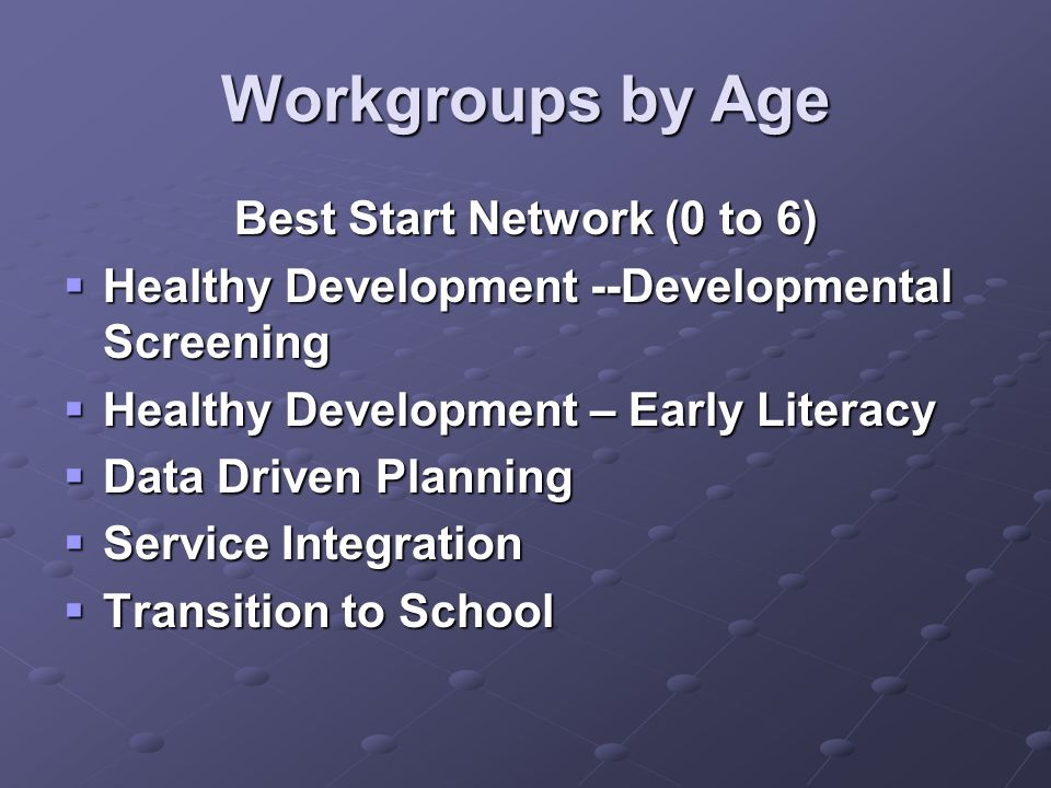 Workgroups by Age Best Start Network (0 to 6)  Healthy Development --Developmental Screening  Healthy Development – Early Literacy  Data Driven Planning  Service Integration  Transition to School