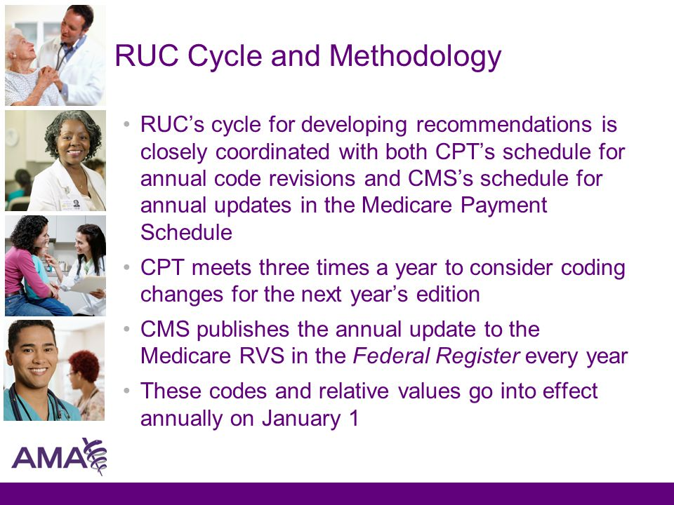 RUC Cycle and Methodology RUC's cycle for developing recommendations is closely coordinated with both CPT's schedule for annual code revisions and CMS's schedule for annual updates in the Medicare Payment Schedule CPT meets three times a year to consider coding changes for the next year's edition CMS publishes the annual update to the Medicare RVS in the Federal Register every year These codes and relative values go into effect annually on January 1