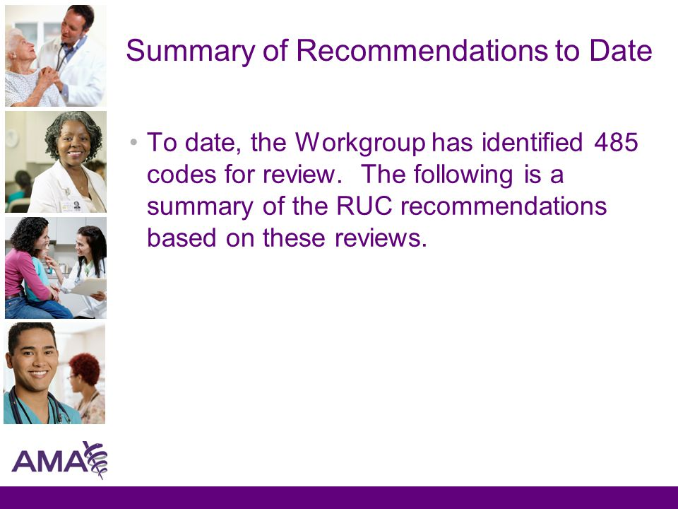 Summary of Recommendations to Date To date, the Workgroup has identified 485 codes for review.
