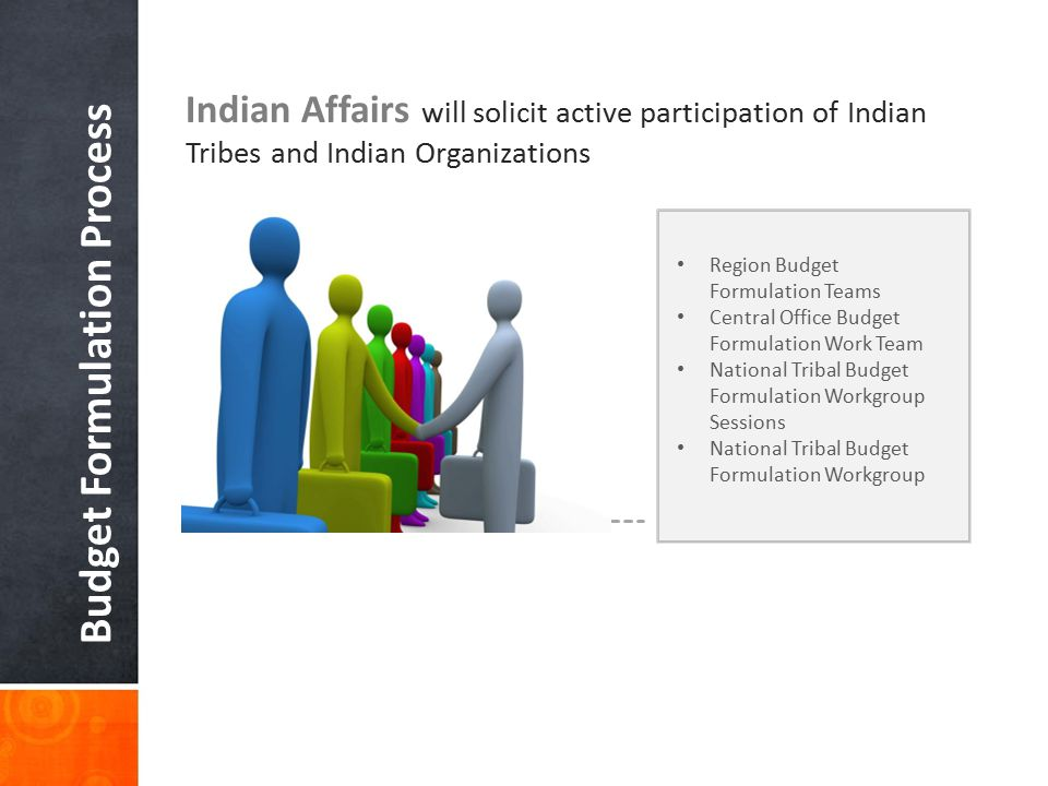 Budget Formulation Process Indian Affairs will solicit active participation of Indian Tribes and Indian Organizations Region Budget Formulation Teams Central Office Budget Formulation Work Team National Tribal Budget Formulation Workgroup Sessions National Tribal Budget Formulation Workgroup