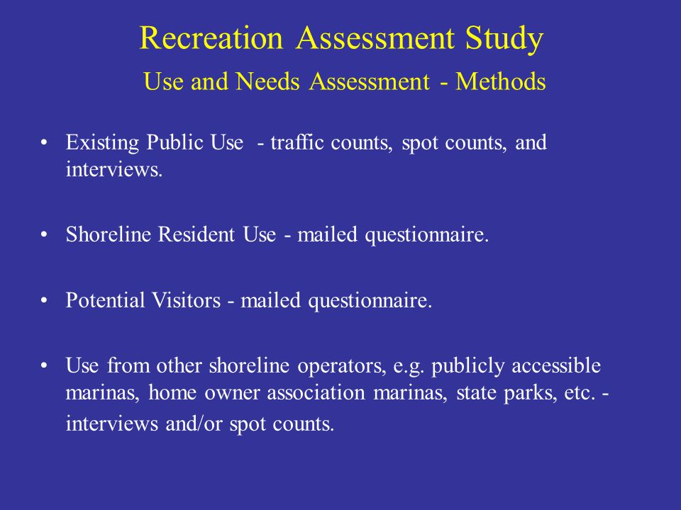 Existing Public Use - traffic counts, spot counts, and interviews. Shoreline Resident Use - mailed questionnaire. Potential Visitors - mailed question