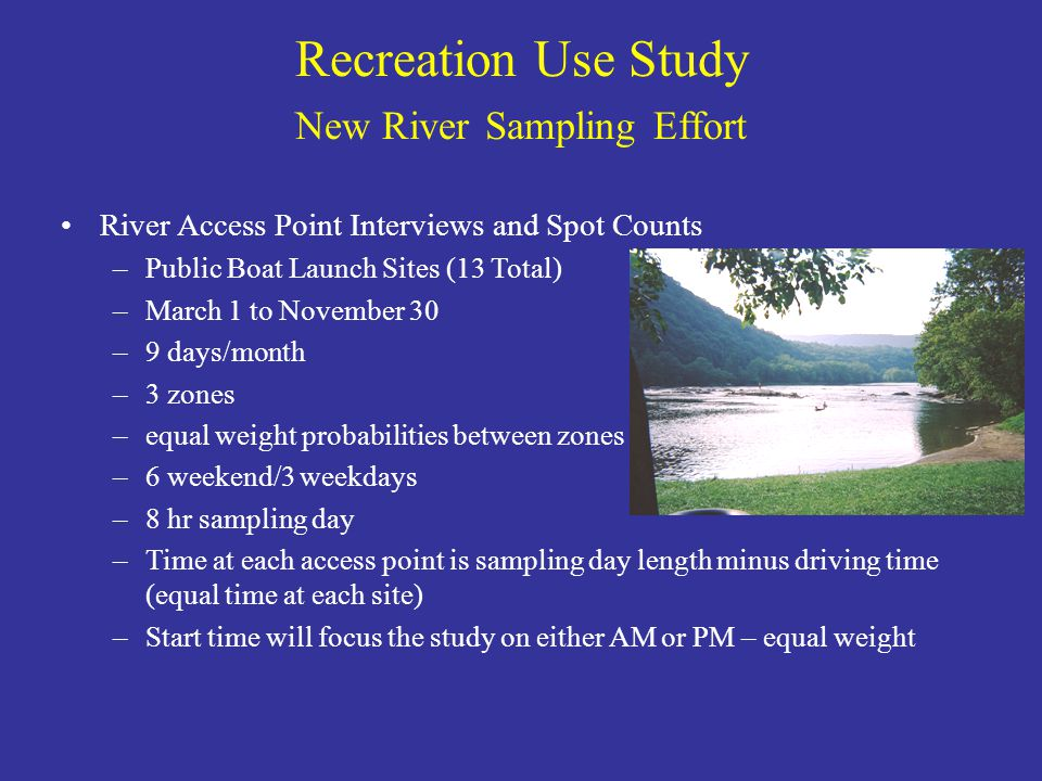 Recreation Use Study New River Sampling Effort River Access Point Interviews and Spot Counts –Public Boat Launch Sites (13 Total) –March 1 to November