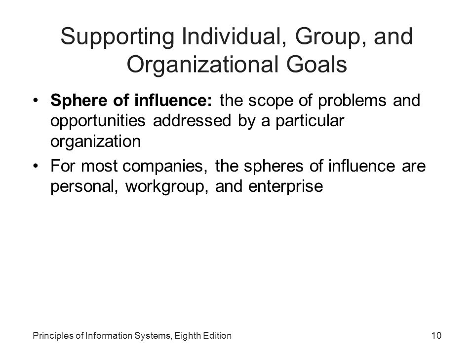 Principles of Information Systems, Eighth Edition10 Supporting Individual, Group, and Organizational Goals Sphere of influence: the scope of problems