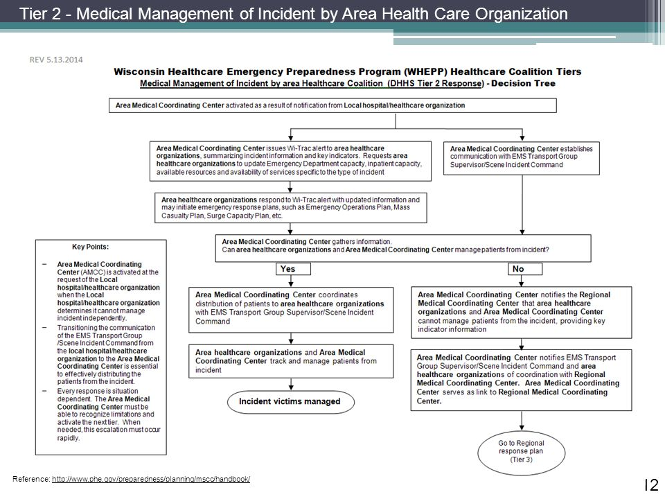 12 Reference: http://www.phe.gov/preparedness/planning/mscc/handbook/ Tier 2 - Medical Management of Incident by Area Health Care Organization