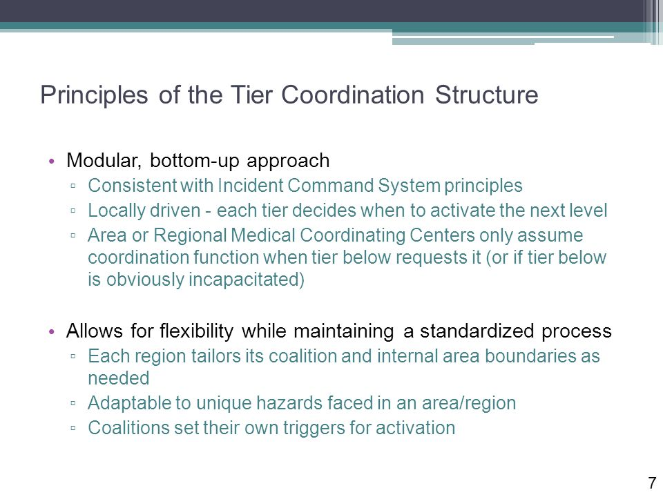 Principles of the Tier Coordination Structure Modular, bottom-up approach ▫ Consistent with Incident Command System principles ▫ Locally driven - each