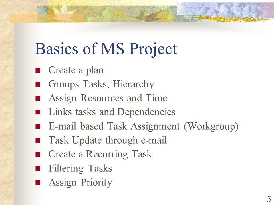 5 Basics of MS Project Create a plan Groups Tasks, Hierarchy Assign Resources and Time Links tasks and Dependencies E-mail based Task Assignment (Work