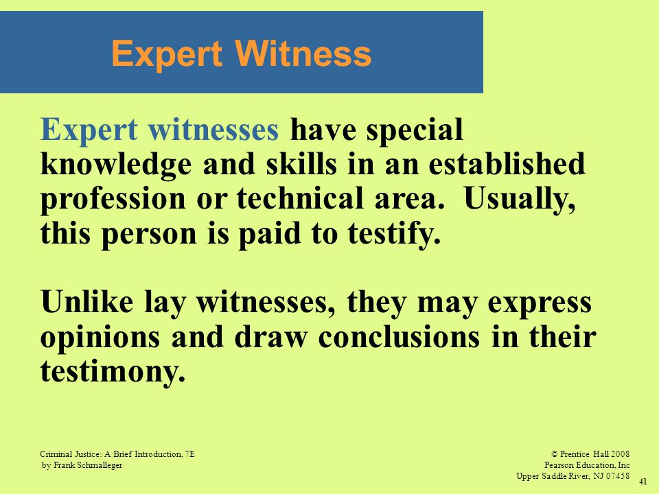 © Prentice Hall 2008 Pearson Education, Inc Upper Saddle River, NJ 07458 Criminal Justice: A Brief Introduction, 7E by Frank Schmalleger 41 Expert Witness Expert witnesses have special knowledge and skills in an established profession or technical area.