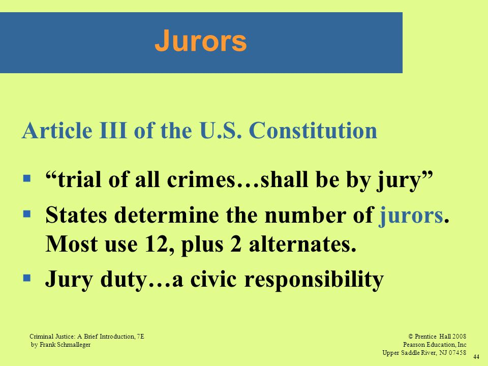 © Prentice Hall 2008 Pearson Education, Inc Upper Saddle River, NJ 07458 Criminal Justice: A Brief Introduction, 7E by Frank Schmalleger 44 Article III of the U.S.