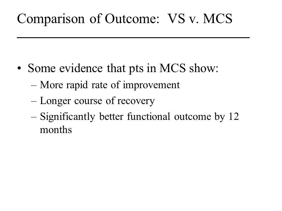 Comparison of Outcome: VS v.
