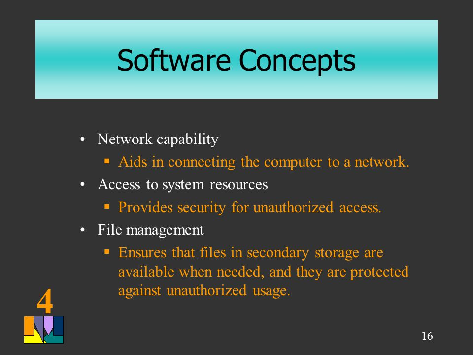 4 16 Software Concepts Network capability  Aids in connecting the computer to a network.