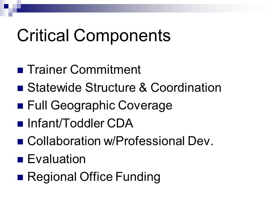 Critical Components Trainer Commitment Statewide Structure & Coordination Full Geographic Coverage Infant/Toddler CDA Collaboration w/Professional Dev
