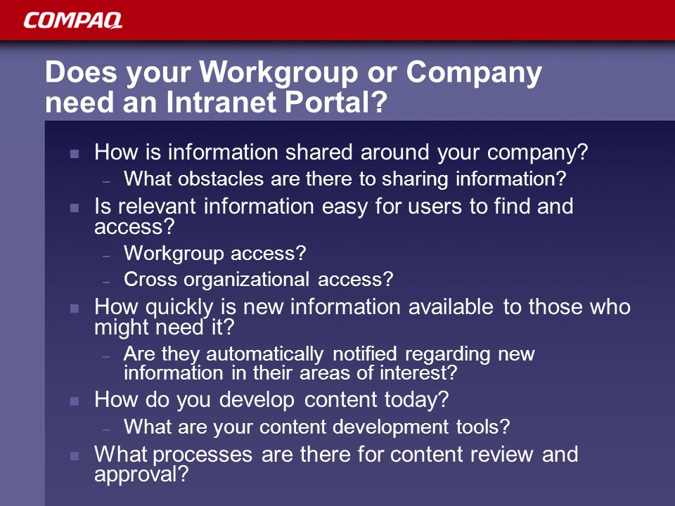 Does your Workgroup or Company need an Intranet Portal.