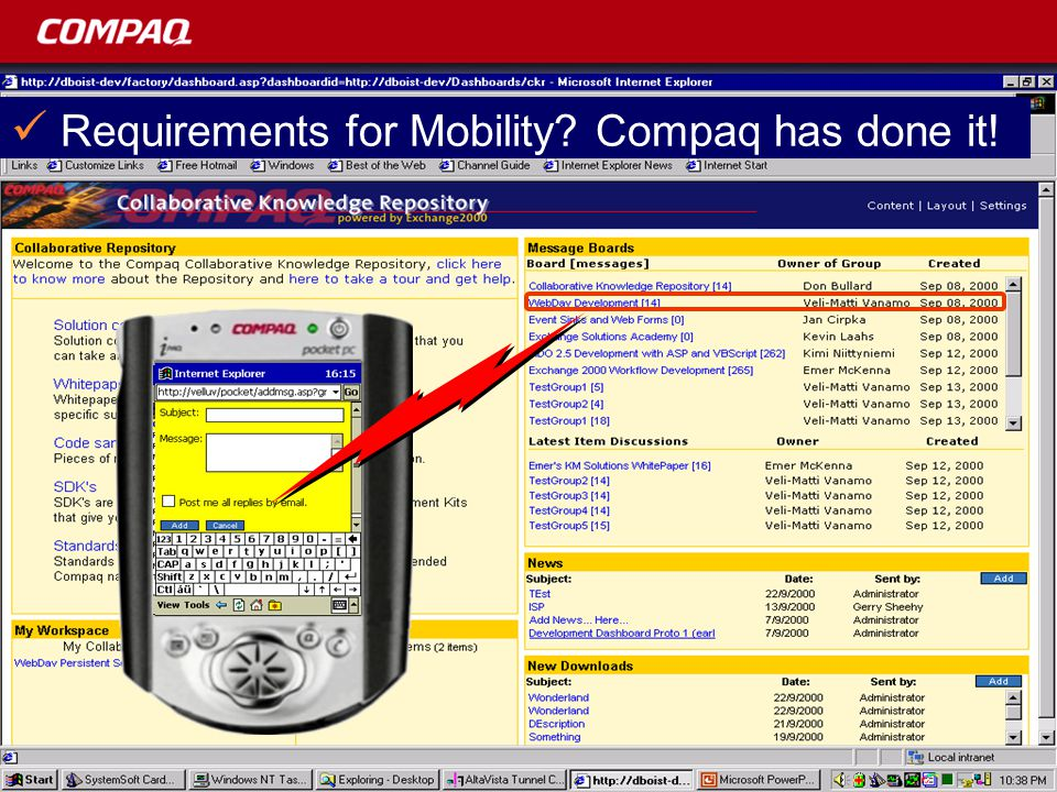 Requirements for Mobility Compaq has done it!