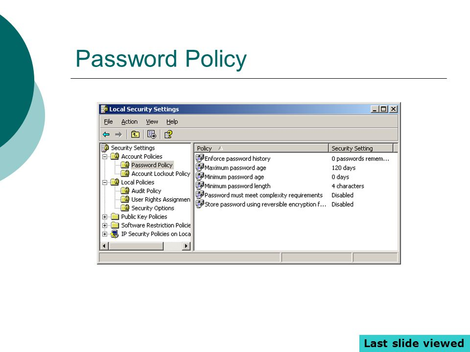 Password Policy Last slide viewed