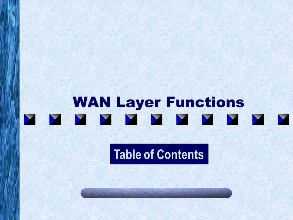 WAN Layer Functions Table of Contents