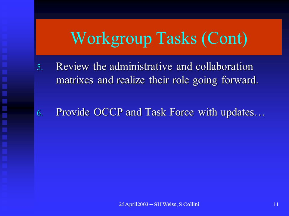25April2003 -- SH Weiss, S Collini11 Workgroup Tasks (Cont) 5.