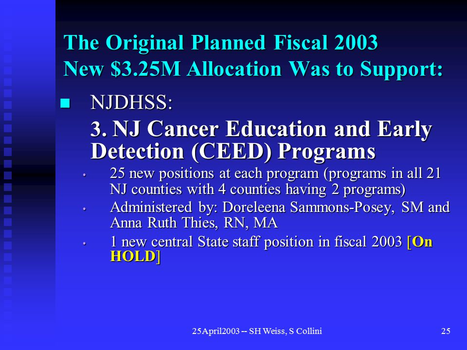 25April2003 -- SH Weiss, S Collini25 The Original Planned Fiscal 2003 New $3.25M Allocation Was to Support: NJDHSS: NJDHSS: 3.